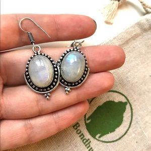 SOLD - Rainbow Moonstone Sterling Silver Earrings